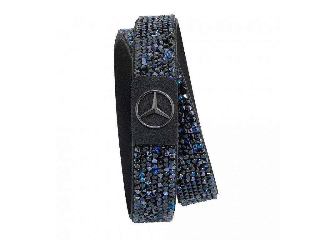 Mercedes Accessories Женский браслет черного цвета, украшенный синими кристаллами Swarovski