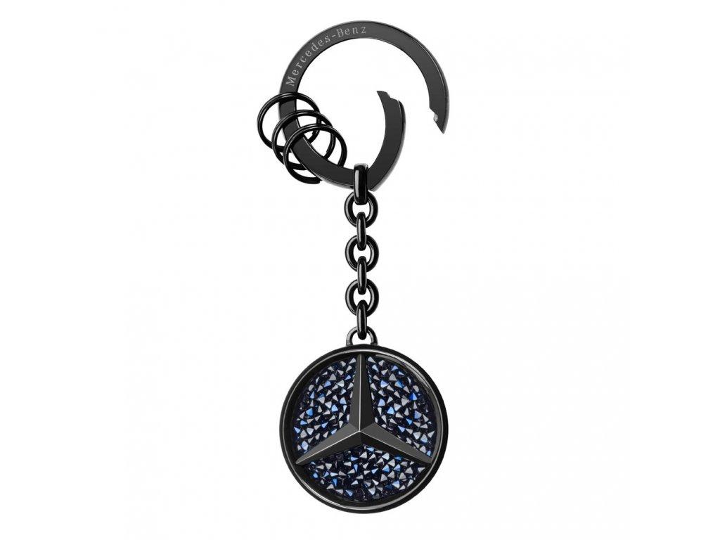 Mercedes Accessories Брелок для ключей с логотипом Mercedes-Benz и черными кристаллами Swarovski
