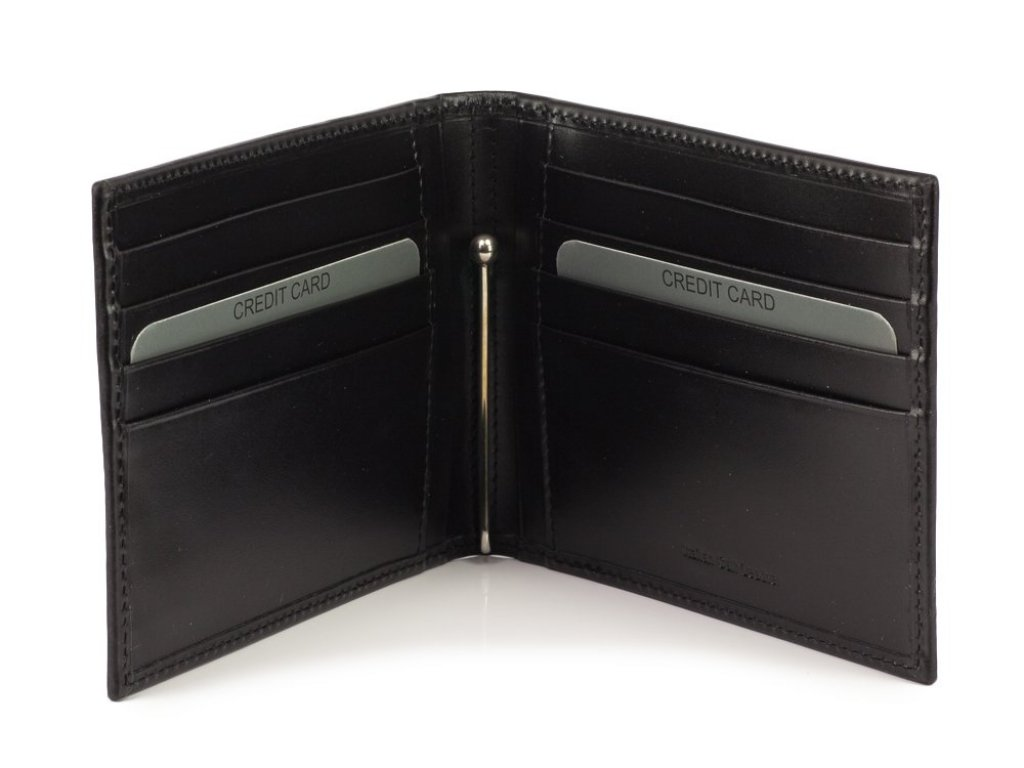 Mercedes Accessories Кредитница с зажимом для купюр из черной телячьей кожи со звездой Mercedes