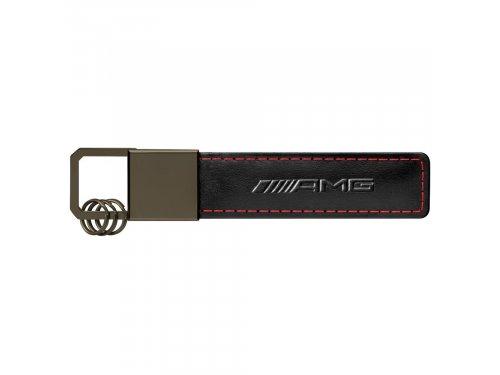 Mercedes Accessories Брелок для ключей из черной кожи с красной прострочкой и логотипом Mercedes-AMG