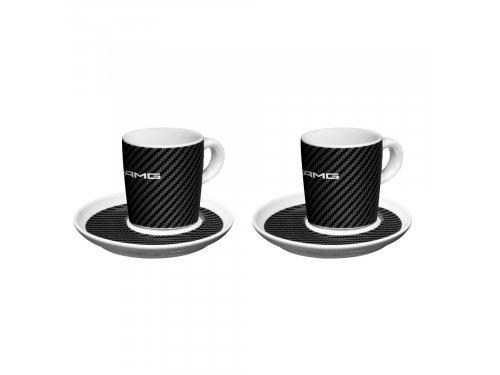 Mercedes Accessories Набор из двух фарфоровых чашек для эспрессо черно-белого цвета в стиле карбон