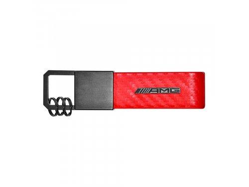 Mercedes Accessories Брелок для ключей красного цвета из карбоновой кожи с логотипом Mercedes-AMG