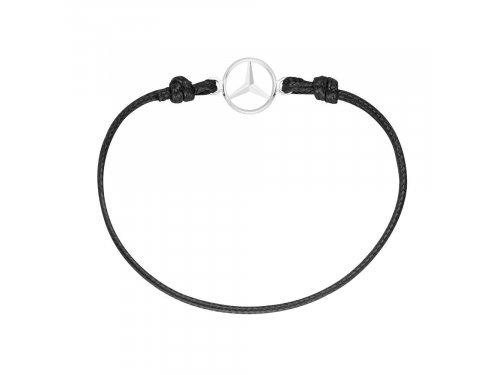 Mercedes Accessories Женский браслет черного цвета, украшенный серебристой звездой Mercedes-Benz