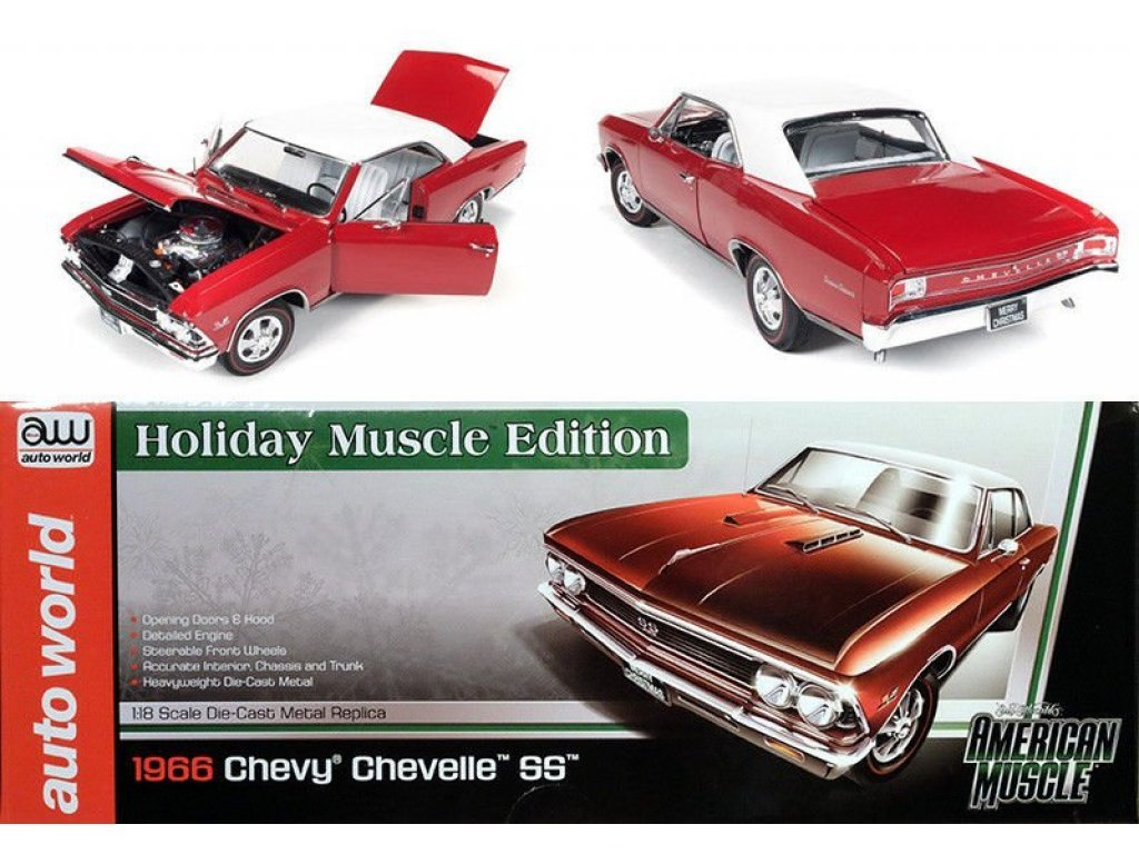 1:18 Auto World Chevrolet Chevelle 1966 красный с белым