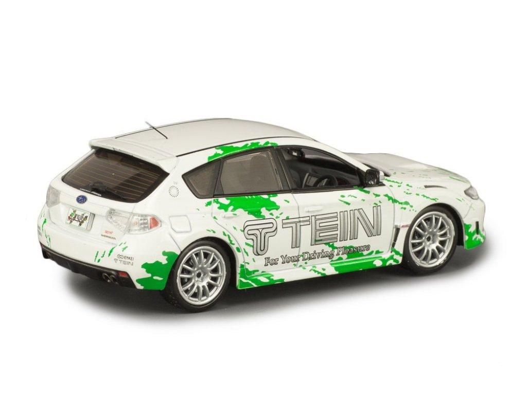 1:43 J-Collection Subaru Impreza WRX STi 2006 Tein Version белый с зеленым