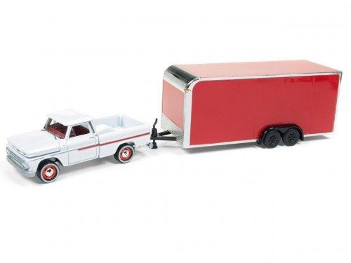 1:64 Johnny Lightning Chevrolet Pickup 1965 с закрытым трейлером для перевозки автомобиля, красный с белым