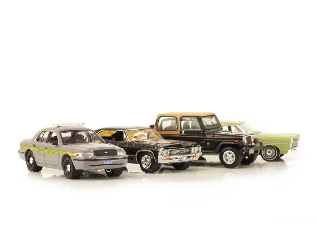 1:64 GreenLight Набор из Сверхъестественное (Supernatural) 1967 Chevrolet Impala Sport Sedan, 1967 Ford Custom, 1992 Jeep Wrangler YJ, 1999 Ford Crown Victoria Police Interceptor