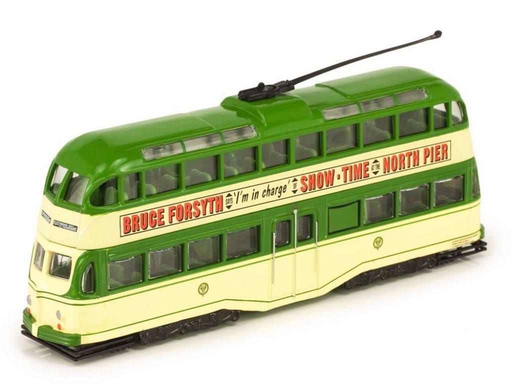 1:72 Atlas трамвай Blackpool Balloon Tram 1960 зеленый с бежевым