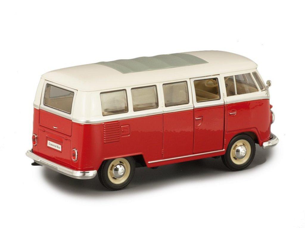 1:24 Welly Volkswagen T1 Classical Bus 1962 красный с белым