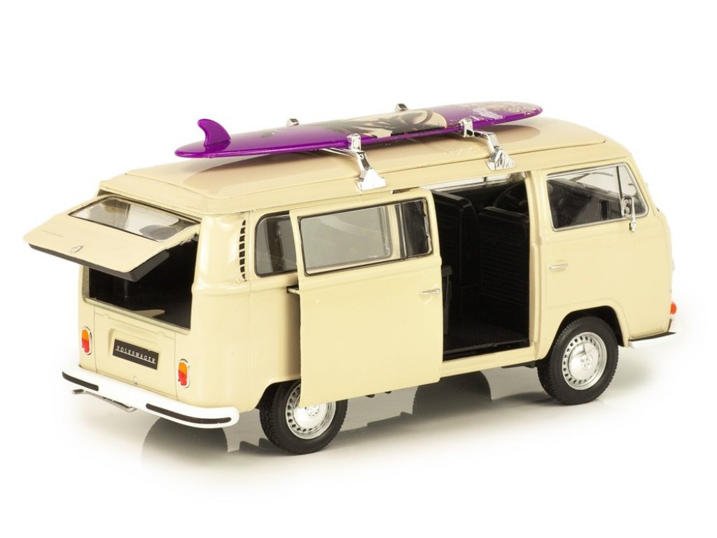 1:24 Welly Volkswagen Bus T2 1972 бежевый с доской для сёрфа
