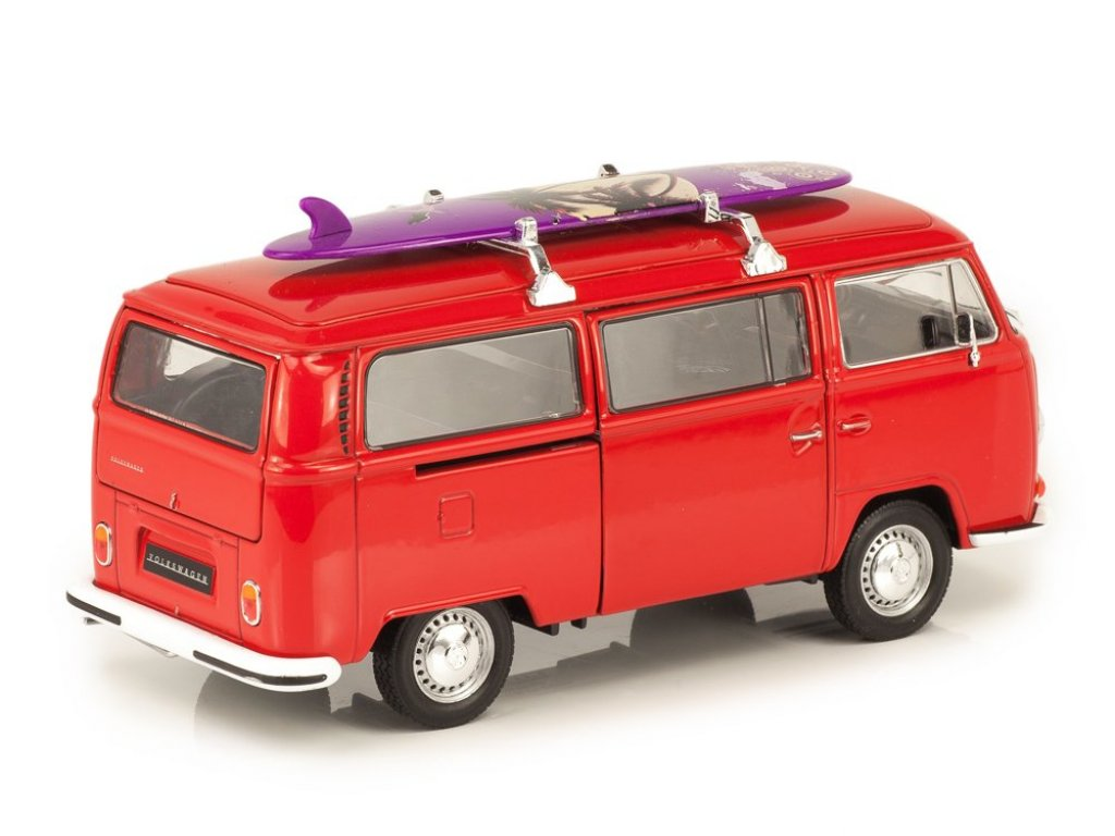 1:24 Welly Volkswagen Bus T2 1972 красный с доской для сёрфа