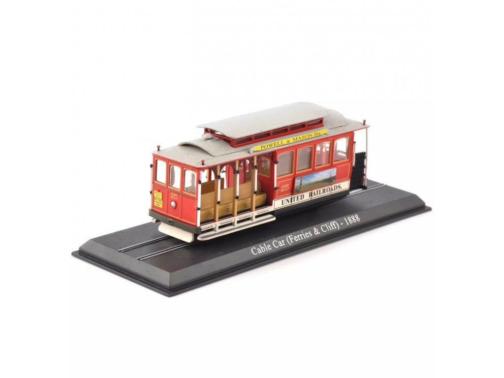 1:87 Atlas Трамвай San Francisco Cable Car 1888 красный