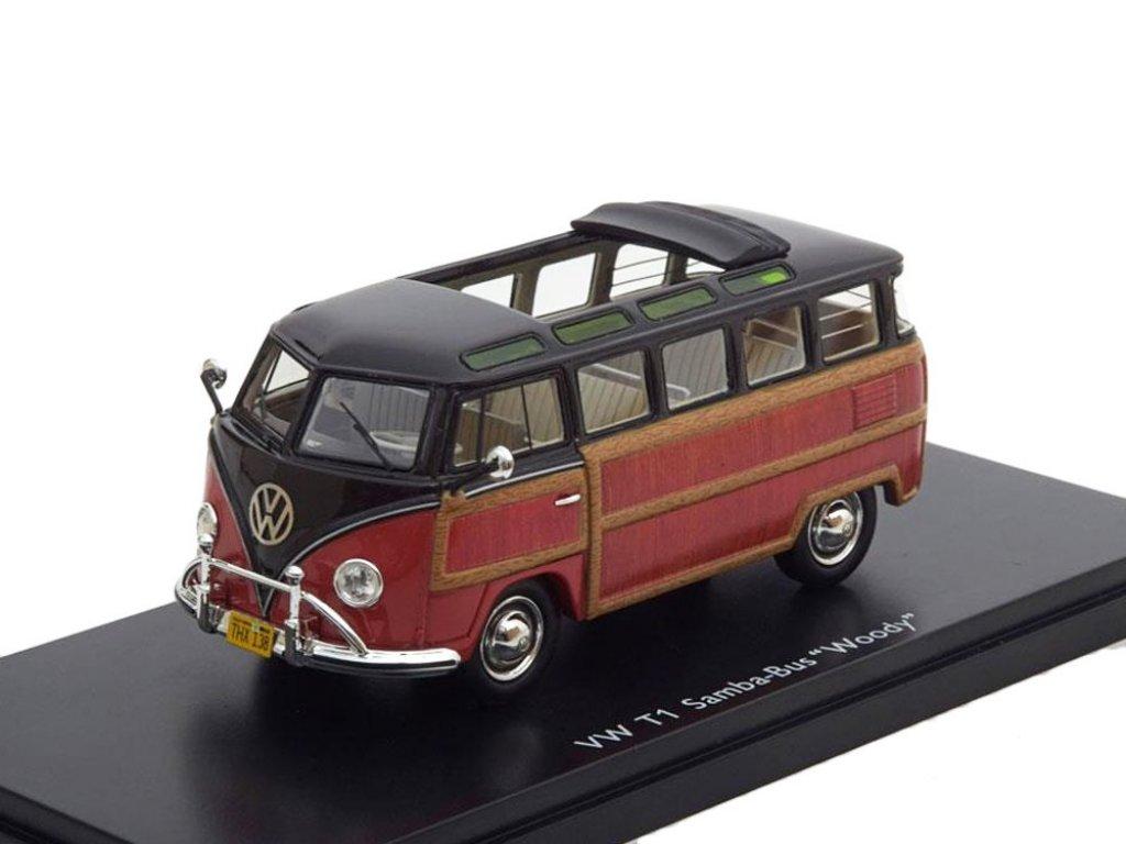 1:43 Schuco Volkswagen T1 Samba Bus черный с деревом (woody)