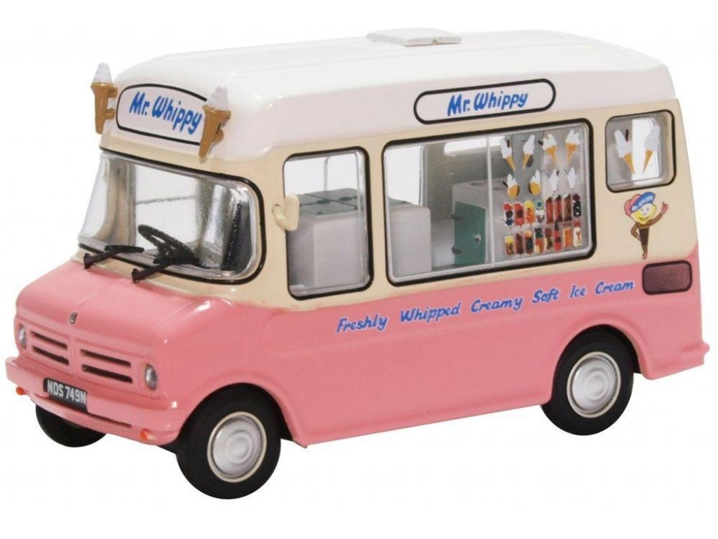 1:43 Oxford Bedford CF Ice Cream Van MR Whippy 1975 розовый с бежевым