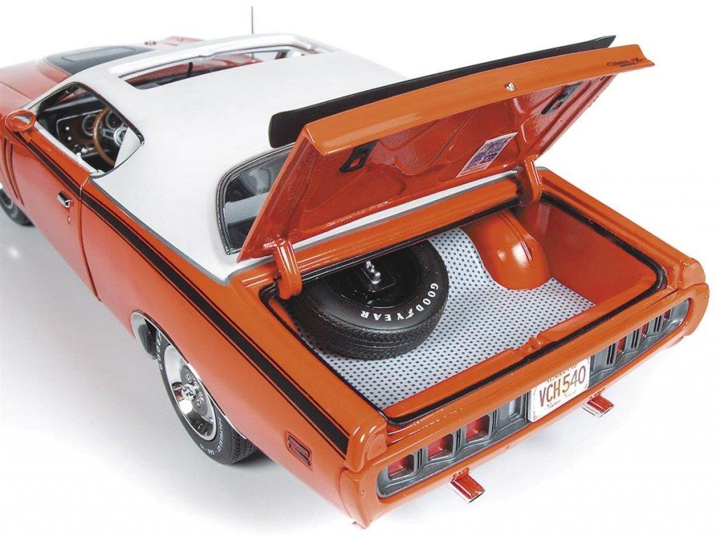 1:18 Auto World Dodge Charger R/T Hardtop 1971 с люком, оранжевый с белой крышей