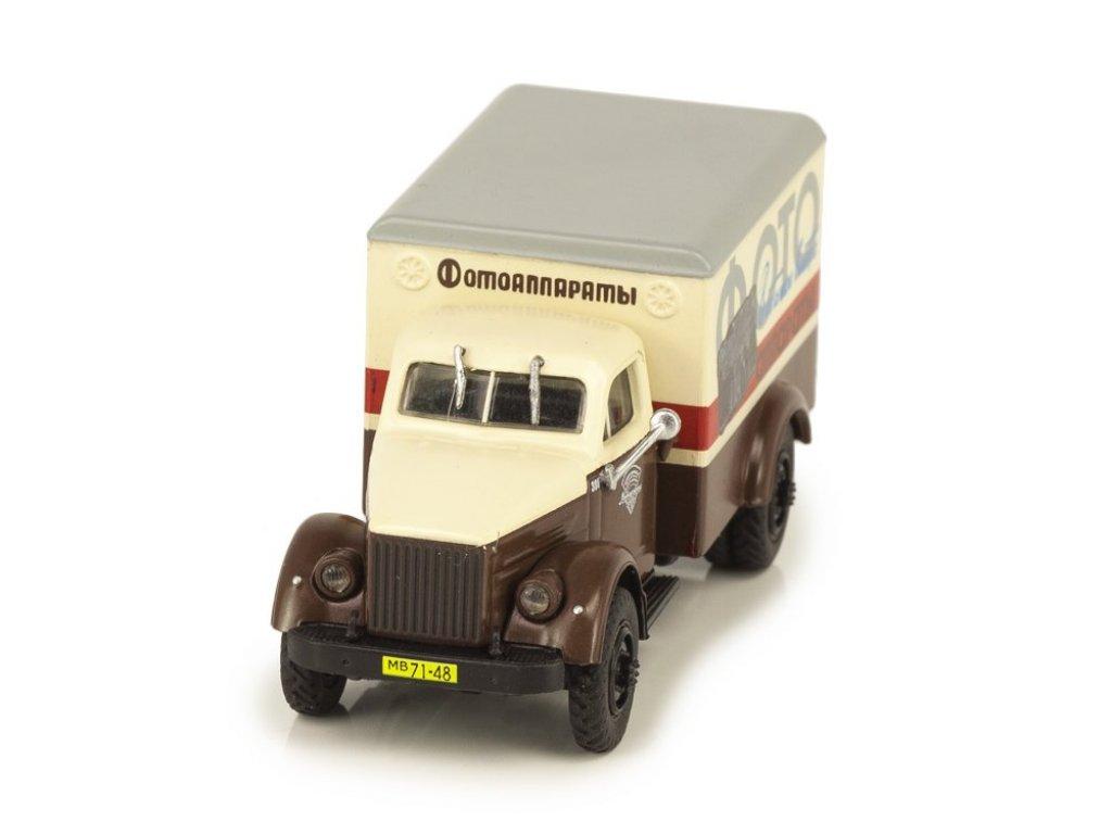 1:72 Грузовики Нашего Прошлого Горький-51А фургон Фотоаппараты коричневый с белым