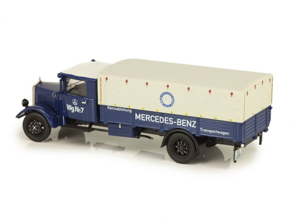 1:43 Schuco Mercedes-Benz Lo 2750 бортовой с тентом, синий, Mercedes Transportwagen