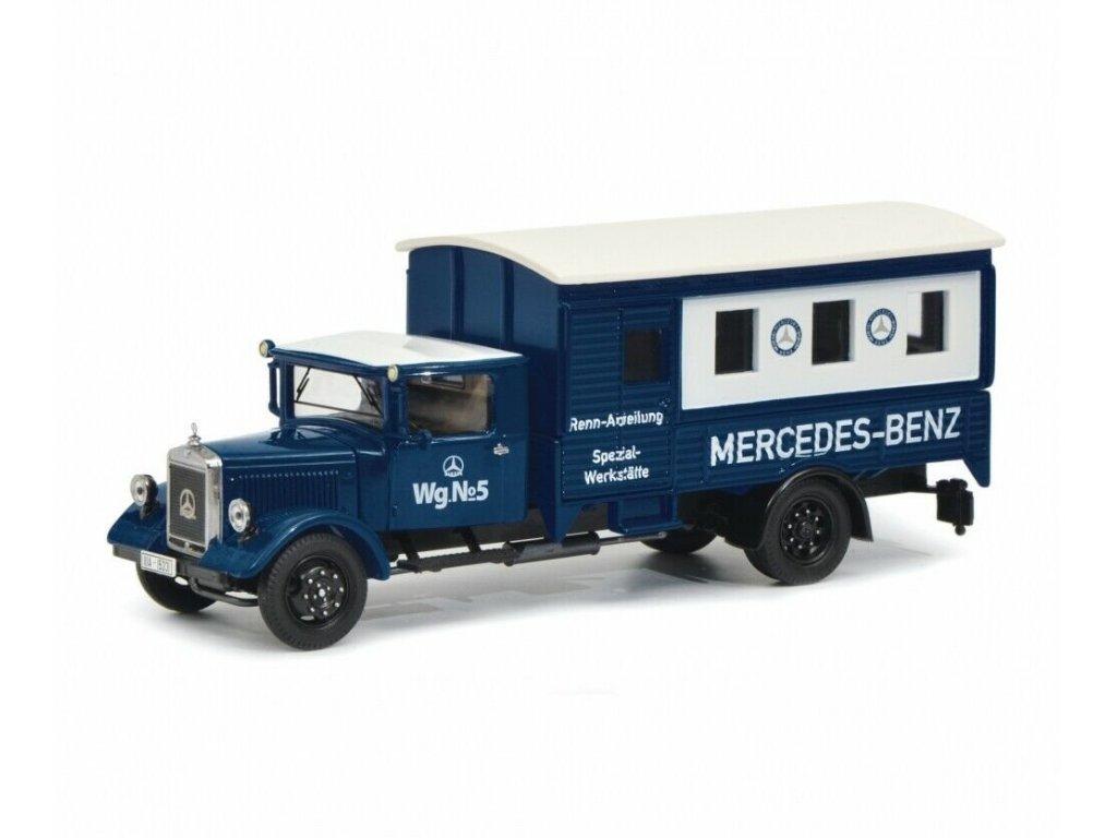 1:43 Schuco Mercedes-Benz Lo 2750 фургон, синий Mercedes Spezialwerkst.