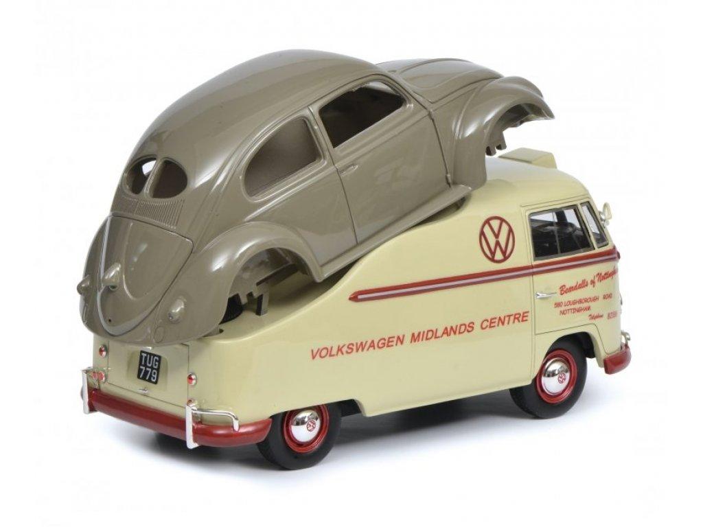 1:18 Schuco Volkswagen T1A Midlands Centre бежевый с серым кузовом Volkswagen Beetle