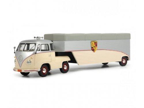 1:18 Schuco Volkswagen T1 седельный тягач с полуприцепом Continental Motors бежевый с серебристым